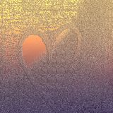 O coração gravou a textura no fundo Fundo tonificado ambarino brilhante com tema estruturado ilustração stock