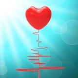 O coração no eletro significa o relacionamento saudável ou Fotos de Stock
