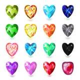 O coração olored ¡ de Ð cortou as gemas isoladas no fundo branco Fotografia de Stock