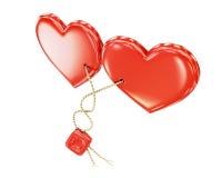 O coração prendeu uma corda isolada no fundo branco rendição 3d Fotografia de Stock Royalty Free