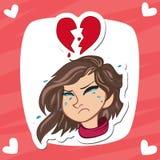 O coração quebrado das mulheres com expressão de grito e o coração quebraram como o fundo com cor cor-de-rosa ilustração do vetor