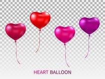 O coração realístico deu forma aos balões ajustados isolados no fundo transparente Vermelho, rosa e balão lustroso roxo com fitas ilustração do vetor