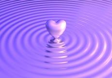 O coração reflete em ondas de água Imagens de Stock Royalty Free