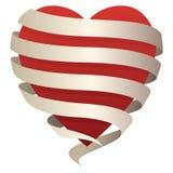 O coração romântico bonito envolvido em uma bandeira de fluxo, aperfeiçoa para o amor, o romance, o dia de Valentim, etc., ilustr fotos de stock