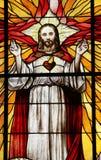 O coração sagrado de Jesus no vitral Imagem de Stock Royalty Free