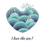 O coração simboliza o amor do mar. ilustração stock