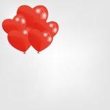 O coração vermelho balloons a ilustração do vetor Imagens de Stock Royalty Free