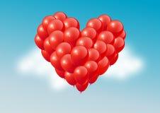 O coração vermelho balloons no céu azul, dia de Valentim feliz, ilustração do vetor Imagens de Stock