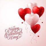 O coração vermelho Balloons o voo com teste padrão do amor e texto feliz do dia de Valentim Imagens de Stock Royalty Free