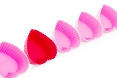 O coração vermelho e cor-de-rosa deu forma a caixas do bolo do silicone Imagens de Stock