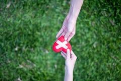 O coração vermelho nas mãos da mulher e mãos as duas dos homens são restaurados Significa as mãos amiga nas épocas difíceis, impo fotos de stock
