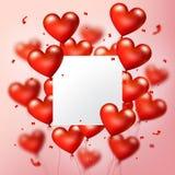 O coração vermelho realístico de voo Balloons com placa branca quadrada e as partículas dos confetes, vector a ilustração Imagem de Stock