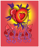 O coração voa nas asas do amor Ilustração do vetor Foto de Stock