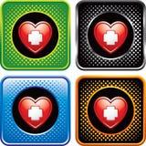 O coração com ícone dos primeiros socorros no Web de intervalo mínimo abotoa-se Fotos de Stock Royalty Free