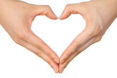 O coração dado forma entrega o sign  Imagens de Stock Royalty Free