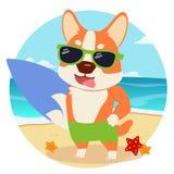 O corgi dos desenhos animados do caráter pronto ao verão ilustração royalty free