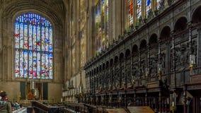 O coro dentro da capela da faculdade do ` s do rei, Cambridge, Cambridgeshire fotos de stock