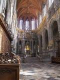 O coro do Sts Peter e Paul Basilica em Saint-Hubert, Bélgica fotografia de stock