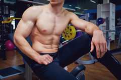 O corpo atlético de um homem no gym fotografia de stock