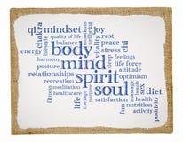 O corpo, a mente, o espírito e a alma exprimem a nuvem Foto de Stock