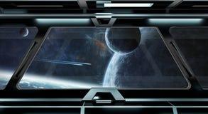 O corredor da nave espacial com vista no sistema distante 3D dos planetas rende Fotografia de Stock