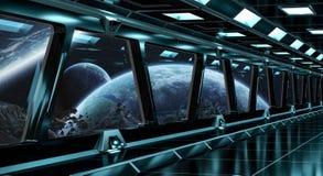 O corredor da nave espacial com vista no sistema distante 3D dos planetas rende Imagens de Stock Royalty Free