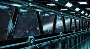 O corredor da nave espacial com vista no sistema distante 3D dos planetas rende Imagem de Stock Royalty Free