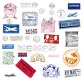 O correio aéreo do vintage etiqueta e carimba Fotos de Stock Royalty Free