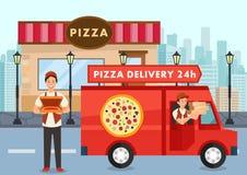 O correio da pizza dos desenhos animados no caminhão leva a ordem da pizza ilustração royalty free