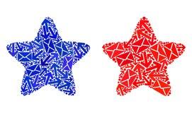 O correio distribui os ícones Star1 vermelhos da colagem ilustração do vetor