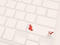 O correio do amor envia o conceito, 3d rende Fotografia de Stock
