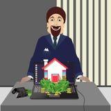 O corretor de imóveis Bens imobiliários para a venda Foto de Stock