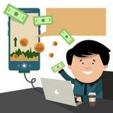 O corretor vende no telefone e no computador O applic financeiro Fotografia de Stock Royalty Free