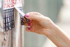 O corte da tomada desliza do papel afixado em um cargo da rua do cimento imagens de stock royalty free