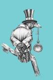 O corvo vestiu-se em um cilindro do terno e do chapéu Foto de Stock