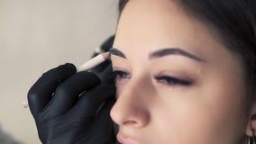 O cosmetologist profissional que prepara a jovem mulher para a sobrancelha permanente compõe o procedimento no salão de beleza, t filme
