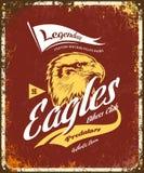 O costume furioso americano da águia do vintage bikes o logotipo do vetor do t-shirt do clube do motor no fundo vermelho ilustração royalty free