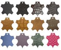 O couro etiqueta cores e a textura diferentes Fotos de Stock