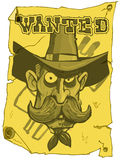 O cowboy dos desenhos animados quis o poster Imagens de Stock Royalty Free
