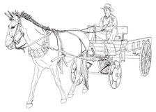 O cowboy monta em um vagão puxado por um cavalo