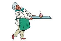 O cozinheiro africano do cozinheiro chefe traz uma bandeja de queque da sobremesa ilustração royalty free