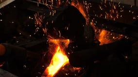 O cozinheiro chefe com um queimador chocalhou os carvões na grade, o fogo é de sopro e de estouro de debaixo dos carvões, video estoque