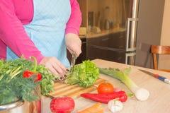 O cozinheiro chefe corta os vegetais em uma refeição Preparando pratos Uma dona de casa usa uma faca e cozinha-a Imagem de Stock