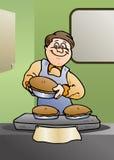 O cozinheiro chefe coze um bolo ilustração stock
