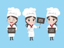 O cozinheiro chefe da menina guarda um signage ilustração royalty free