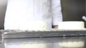 O cozinheiro chefe de pastelaria das mãos prepara um bolo, tampa com crosta de gelo e decora-o com morangos, trabalhos em uma coz vídeos de arquivo
