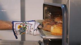 O cozinheiro chefe de pastelaria retira da folha de cozimento do forno com rolos de canela video estoque