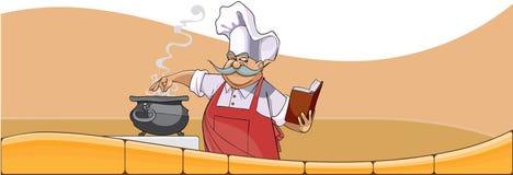 O cozinheiro chefe dos desenhos animados cozinha no potenciômetro e olha no livro Imagens de Stock Royalty Free