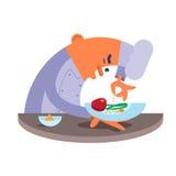 O cozinheiro chefe dos desenhos animados prepara com cuidado o bife Fotografia de Stock Royalty Free