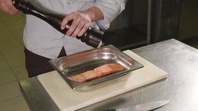 O cozinheiro chefe está adicionando algum sal que torce o moinho sobre a parte salmon em uma cozinha profissional filme